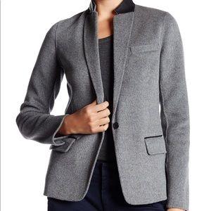 Vince leather trimmed wool blend blazer